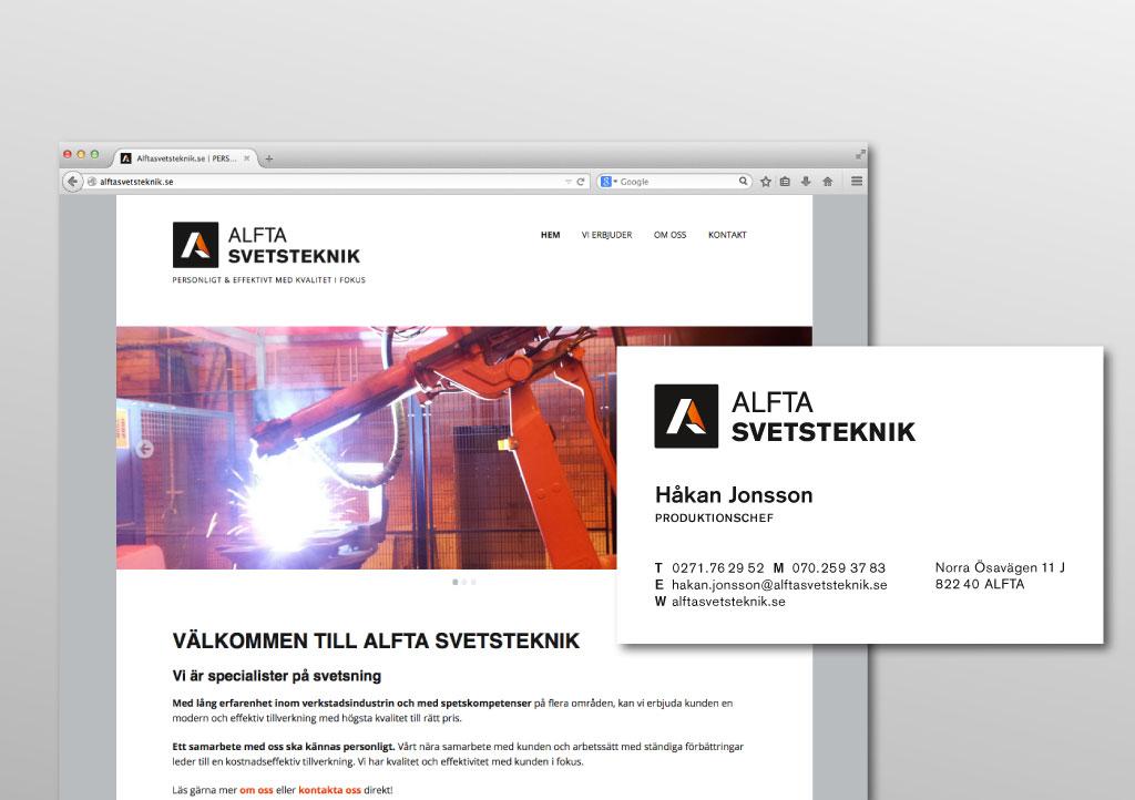 Logotyp, grafisk profil och hemsida för Alfta Svetsteknik